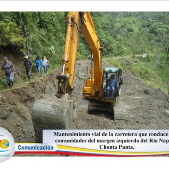 Mantenimiento Vial comunidades del margen izquierdo del río Napo en Chonta Punta