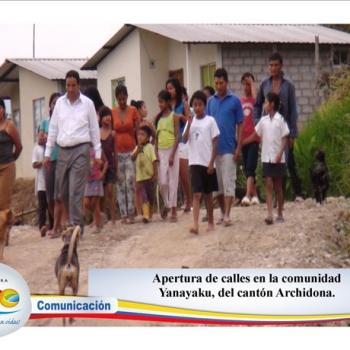Apertura de calles en la comunidad Yanayaku, cantón Archidona