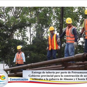 Entrega de tubería por parte de Petroamazonas al GAD Provincial de Napo