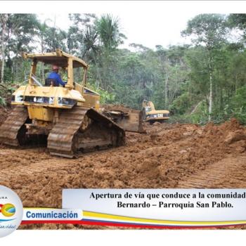 Apuertura de vía que conduce a comunidad de San Bernardo - Parroquia San Pablo