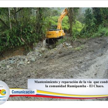 Mantenimiento y reparación de la via que conduce a la comunidad de Rumipamba - Cantón el Chaco