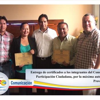 Entrega de certificados Consejo de Participación Ciudadana